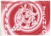 "A rave flyer featuring cartoon outlines of two people dancing in front of a red and white spiral pattern, with the words ""kinky techno"" in graffiti-style lettering down the side."