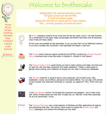 A screenshot of an older version of brothercake. It's very brightly coloured with a child-like, cartoon appearance.